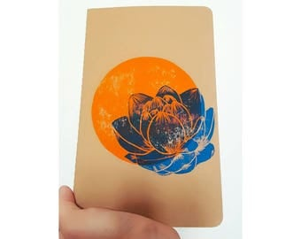 Lotus Moleskine 13 x 21 cm linocut kraft cover notebook