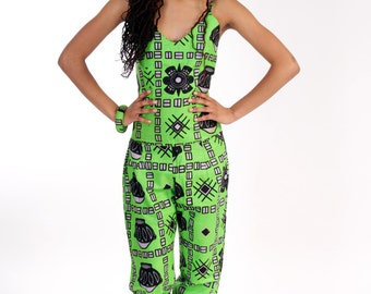 Fashionable Green African print Jumpsuit -  Malaika
