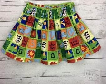 Funky bright jungle alphabet print cotton skirt