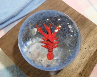 Vintage Glass Paperweight with Bright Red Orange Lobster