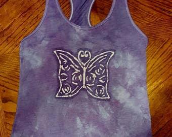Butterfly Batik Purple Racerback Tank, Size XL or Custom Available
