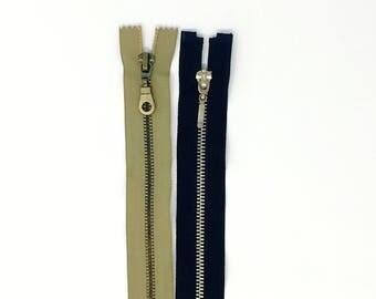 "5mm Antique Brass Nickel Closed Bottom Zipper 22"""