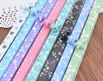Origami Ppaer Lucky Star Paper Strips Romantic Floral Mixed Designs Star Foldng DIY - Pack of 90 Strips