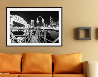 Nashville, Urban Art Print, Black and White Photography, Urban Home Decor, Nashville River, Nashville Bridge, City Wall Art, Nashville Photo