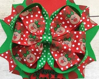 Christmas Bow, Girls Christmas Bow, Christmas Bow for Girls, Baby Christmas,  Headband, Christmas Toddler Hair Clip, No-slip Hair Clip, Baby