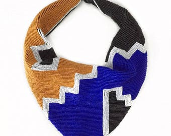 Mercer Beaded Scarf Necklace in Royal Blue and Mustard Yellow