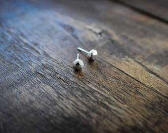 Sterling Silver Studs, Faceted Recycled Sterling Silver Stud Earrings