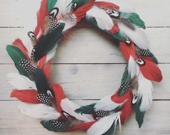 Boho Christmas Feather Wreath