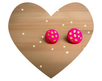 stud earrings, hot pink earrings, polymer clay earrings, pink earrings, dot earrings, clay jewelry, gift for her, teacher gifts