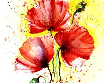 Poppies painting ORIGINAL watercolor painting Red poppy Red wall art Flower painting