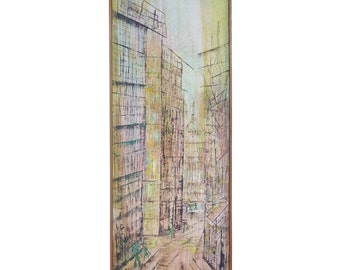 """Yvonna S. Overbeck """" Modernist Cityscape """" Oil On Panel"""