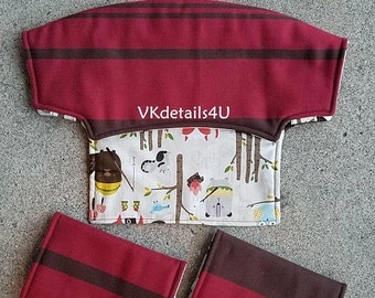 Lillebaby accessories WRAP SCRAP Bib Headrest cover, Suck Pads, Reversible Red/Brown stripes, woodland animals. All seasons, embossed.