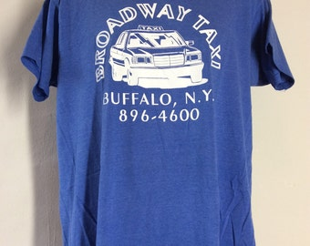 Vtg 80s Broadway Taxi Buffalo NY T-Shirt Blue L/XL Screen Stars 50/50