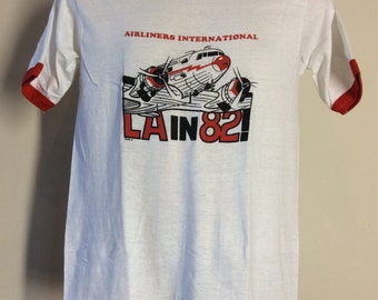 Vtg 1982 L.A. In '82! Airliners International Ringer T-Shirt M 80s Transportation Los Angeles