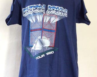 Vtg 1980 Elton John Concert T-Shirt Blue L/XL 80s Classic Rock