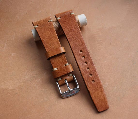 VTG style Horween Dublin natural watch band - Simple stitching