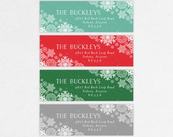 Holiday Return Address Label, Christmas Return Address Labels, Holiday Address Stickers, Christmas Address Stickers, Print, Snowflakes, DIY