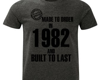 1982 Birthday T-Shirt. Made to Order/Built to Last design. Mens Charcoal Marl Grey.