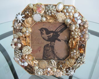 Vintage Jeweled Picture Frame, Handcrafted Vintage Jewelry, One-of-a-Kind, Bejeweled Frame, Wedding Gift, Gift for Her, Bling Glam  /F1