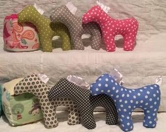Crinkle Ponies Polka Dot Stuffed Horse Toy  / Baby Sensory Toy Handmade NEW