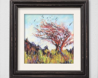 """Original Pastel Painting """"Thorny Trees"""""""