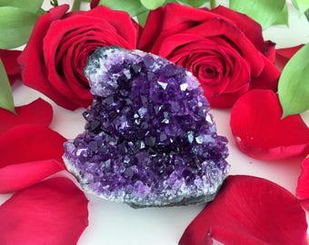 Amethyst Deep Purple Standing Crystal w/ Reiki Perfect Birthday Gift