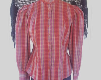 Vintage Blouse, 80s Red Check Retro Blouse, Shirt - Maroon Blouse - Small