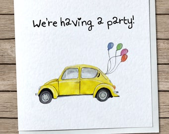 Volkswagen Beetle Party Invitations - Classic, Retro, Vintage, Birthday Party, Celebration - Custom, Personalised