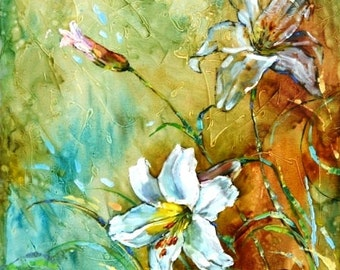 """Art original oil painting """" Lily""""/ Delivery is free"""
