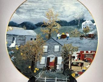 Grandma Moses Memories of America Collector Plate Halloween COA and Case