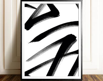 Abstract art, PRINTABLE art, Modern Minimalist print, Modern art, Minimalist Art, Brushstroke Art, Contemporary Art, Black & white art print
