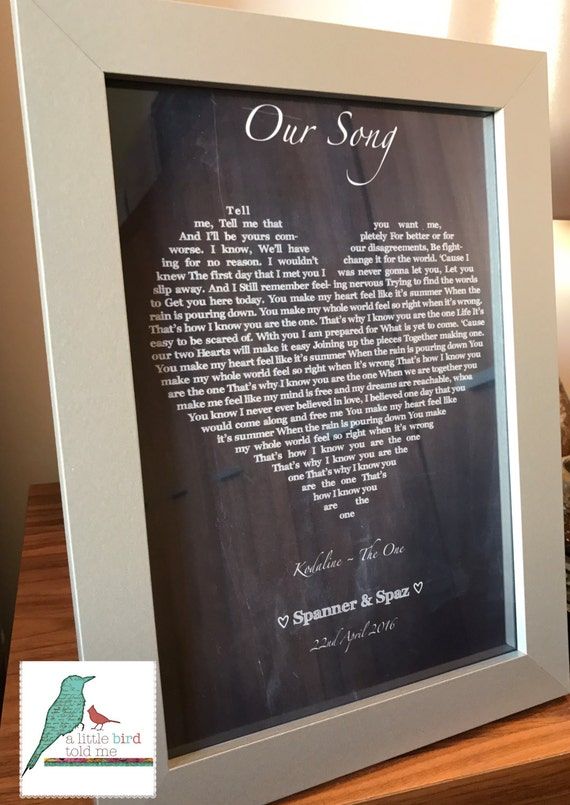 Personalised Song Lyrics Print Heart Shape Chalkboard Effect