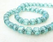 24pc - 8mm Cathedral Beads, Teal AB, Preciosa Fire Polished Czech Glass Beads, Faceted Bead, 8mm Beads, Teal Cathedral Beads, Aqua Beads