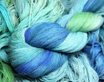 Blue Lagoon - Superfine Merino 80%, Mulberry Silk 20 - lace yarn, hand dyed, 100g/1000m,
