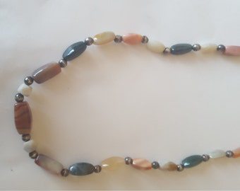 Artisan 6-20mm Multi-Color Agate Gems Bead Necklace 28""