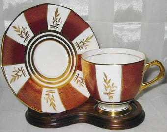Tuscan China Teacup Set  Golden Chintz on Maroon with Golden Leaves