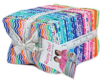 "Moda - Fat Quarter Bundle ""Rainy Day"" by Me and My Sister Designs -- 40 different fat quarters.  kids fabric, Baby Fabric, Pastel fabric."