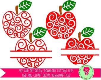 Teacher Swirly Apple, Split Apples SVG / DXF Cutting Files For Cricut Explore / Silhouette And PNG Clipart, Download, Commercial Use Ok