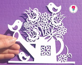 Flowers in a watering can paper cut SVG / DXF / EPS files, and a printable template for hand cutting. Digital Download.