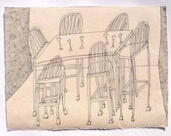 Dream home II - fineliner on rag paper