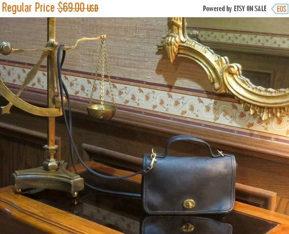 Football Days Sale COACH ~ CASINO CrossBody Black Glove Leather Messenger Bag Number 9924 - Very Good To Excellent Used Condition
