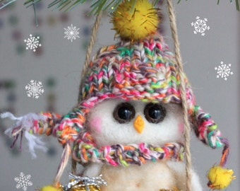 Christmas tree Needle Felted Owl Ornament