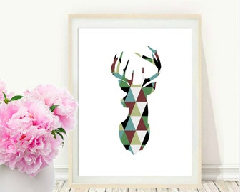 Deer Wall Art, Nursery Print, Deer Print,  Printable Art,  Nursery Decor, instant  Download, Nursery Wall Art