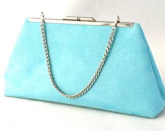 Gorgeous Turquoise Suede Clutch Purse ~ Blue  Suede Purse ~ Ready to Ship