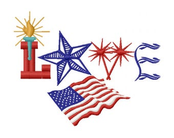 American Flag Embroidery Design - 4th of July Embroidery Design - Patriotic Embroidery Design - 4th of July Love Embroidery Design
