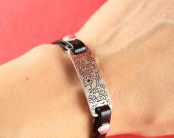 10/5 MADE in EUROPE zamak connector, flat cord zamak connector, flat cord engraved floral slider (77482/06) Qty1