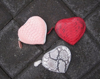 Heart Shaped Python Leather Wallet, Red Leather Zip Around Wallet,Love Heart Coin Purse Wallet, Valentine Gift Wallet