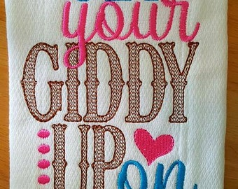 Get Your Giddy Up On Burp Cloth for Girls Shower Gift