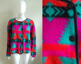 40%offAug18-21 80s neon southwestern jacket size medium / large, tribal fleece jacket, 1980s bright southwest jacket teal orange pink