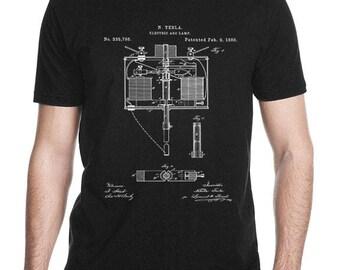 Nikola Tesla Electric Arc Lamp T Shirt Patent